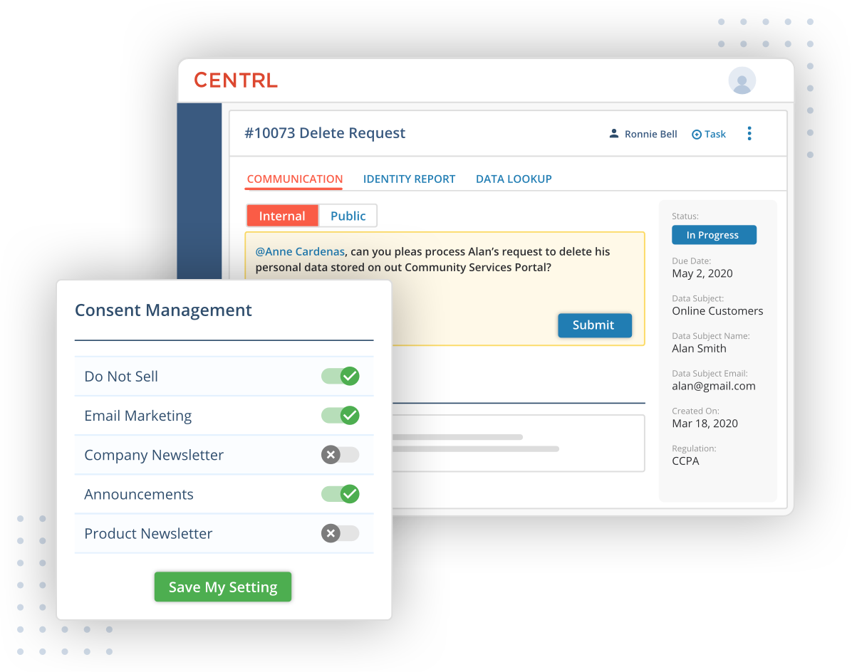 Seamlessly Integrated in an End-to-End Platform with DSRM, Consent, and Vendor Risk Management